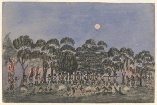 A corroboree at Emerald Hill, drawn by William Liardet, 1840
