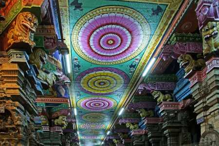 Brightly coloured ceilings at the Meenakshi Temple