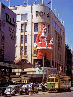 Foy's giant Santa, overlooking the mall.