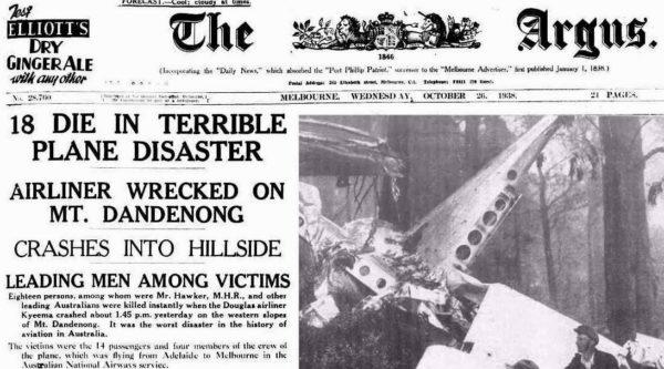 Plane Crash on Mount Dandenong: news headline