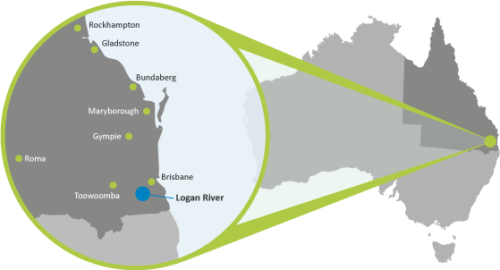 Map showing the location of the Logan River, Queensland