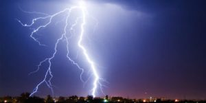 A picture of a forked lightning strike