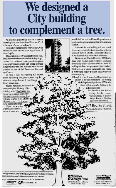 Ad for the new building, preserving Melbourne's honey locust tree