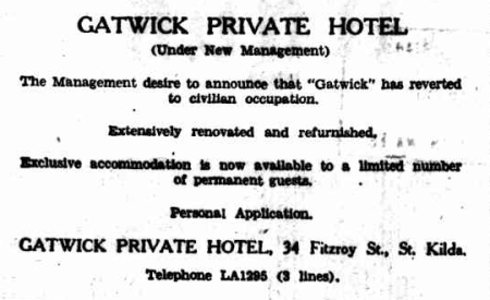 Ad for The Gatwick Hotel, 1946