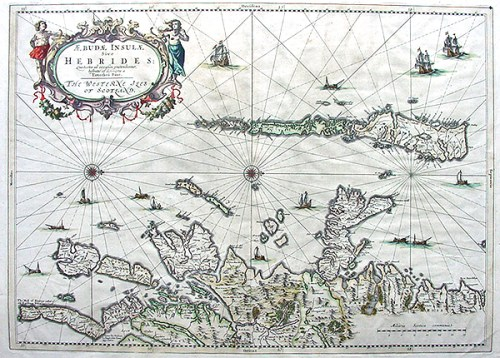A 17th century map of the Outer Hebrides.