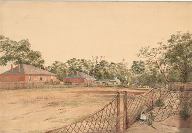 Sketch of Brunswick Rd, Brunswick, circa 1850s