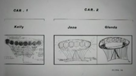 Drawings of the UFO encountered by Kelly Cahill, and two other alleged eyewitnesses