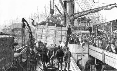 'Cooper and Bailey's circus arrives by boat, 1877