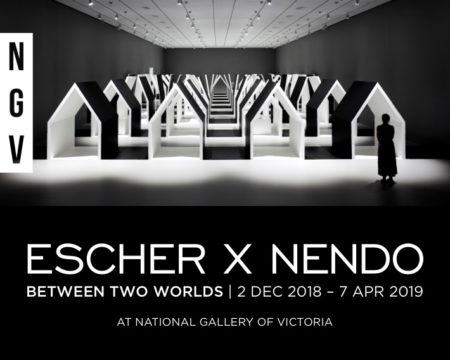 Poster for the NGV's Escher show; a huge popular hit