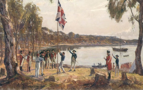 The First Fleet arrive in Port Jackson