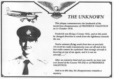 Memorial plaque for Frederick Valentich, near Cape Otway