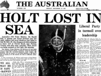 The press reports the disappearance of Harold Holt
