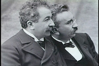A picture of the Lumiere brothers, inventors of movie camera.