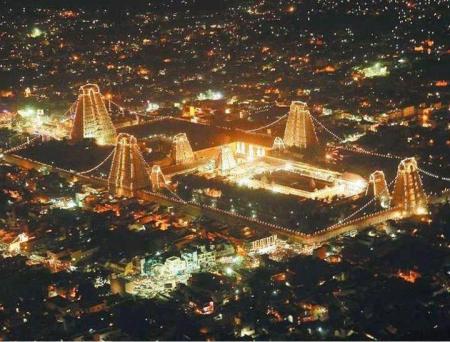 The Meenakshi Temple at night