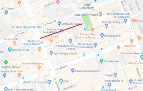Location of Knox Place, later swallowed up by Melbourne Central