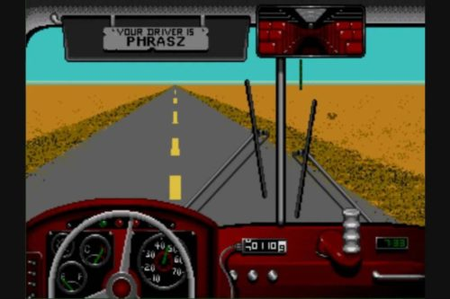 The screen from the computer game 'Desert Bus'