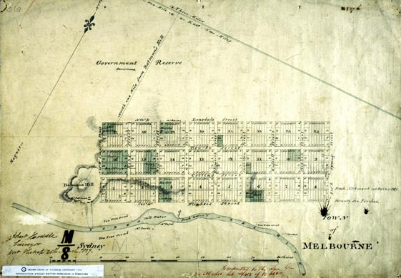 Original survey map of Melbourne, from 1836.
