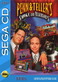 The cover to the Sega CD game, 'Penn and teller's SMoke and Mirrors'