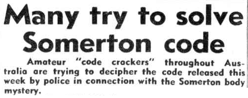 The press report The Somerton Man code mystery