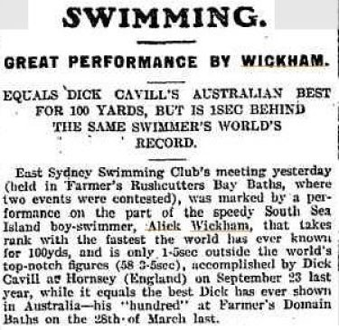 Wickham equals the national 100 yards record, 1903.