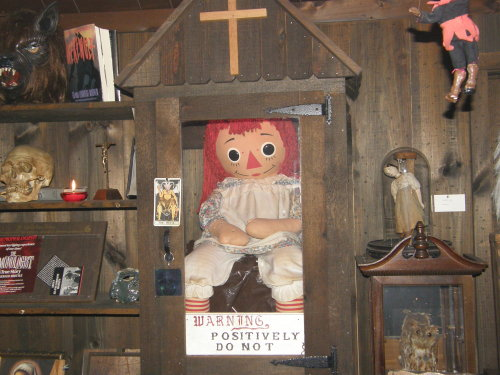 The real Annabelle doll, in the Warren's museum