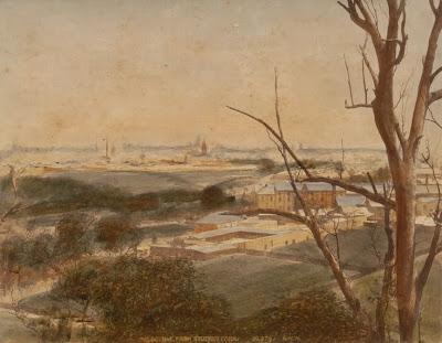 Watercolour painting of Yarra Bend Asylum, circa 1850