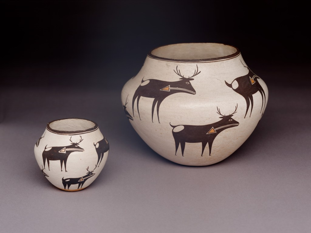 Polychrome Jars (2), ca. 1960 by Lucy M. Lewis (1898 - 1992). Acoma Pueblo (New Mexico). Gift of Alice Dockstader in Memory of her Husband, Frederick J. Dockstader