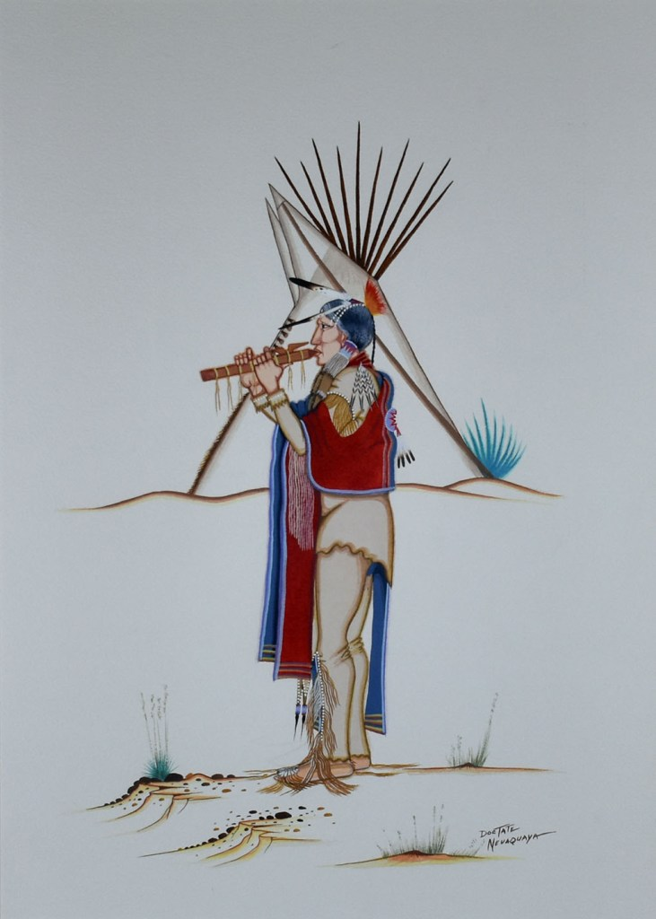 A portrait of a native flute player by Doc Tate Nevaquaya