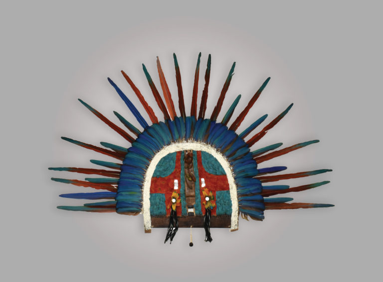 A feathered upe mask from the Tapirape (Amazonia)