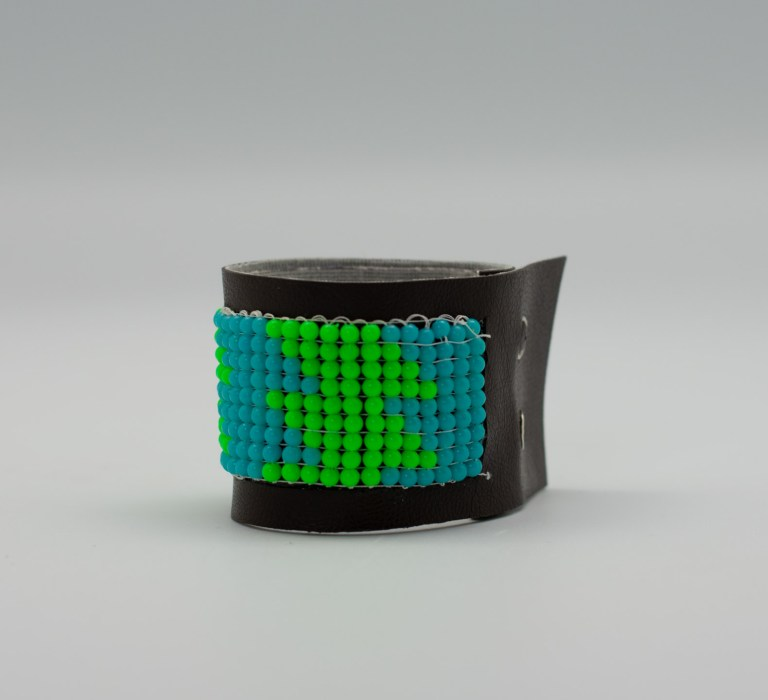 Beaded Leather Bracelet by Mia Janelle Reich. First place, three-dimensional art, ages 11 to 15. NFS.