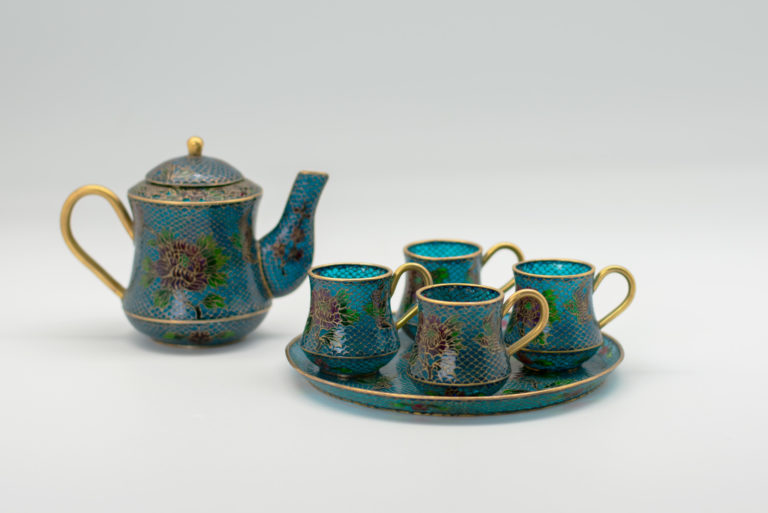 Floating Cloisonné Demitasse set, ca. 1920. Japanese. Gift of Nathaniel and Lana Grey.