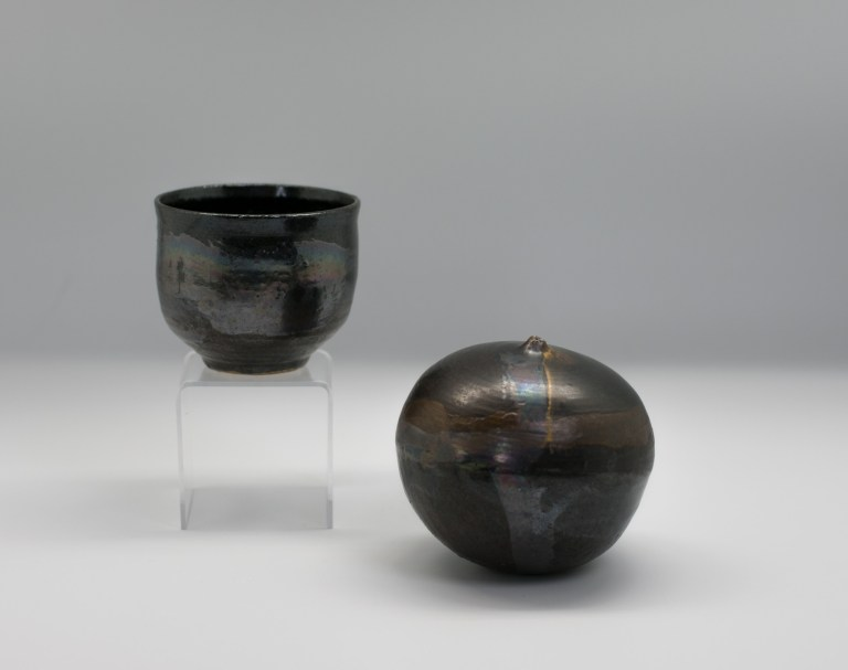 "Sculpture and tea-cup, ca. 1970 by Toshiko Takaezu (Japanese/ Hawaiian-American, 1922 - 2011). Gift of Ron and Lynne Wetherell. 3.5"" by 3.75' W; 4.5"" H x 4.75"" W."