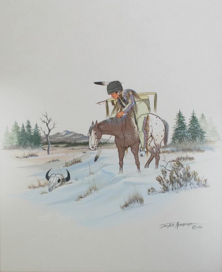 "End of Times, 1985 by Joyce Lee ""Doc"" Tate Nevaquaya. (Comanche, 1932 – 1996). Gift of Peter and Ginny Carl. 27"" H x 23"" W."