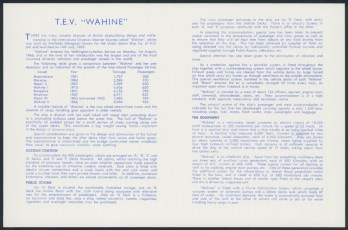 "USS Co. T.E.V. ""Wahine"" Drive-on Vehicular and Passenger Vessel information brochure"