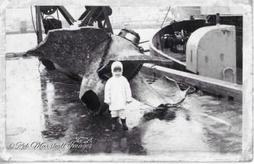 Sandra Marshall Geusebroek alongside the salvaged propeller from the TEV Wahine