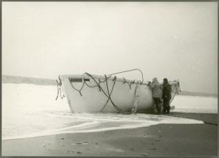 Empty lifeboat ashore at Seatoun after wreck of TEV Wahine.