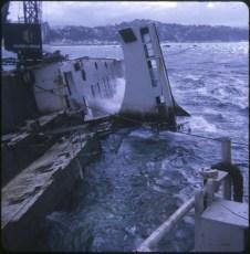 TEV Wahine wreck in heavy seas