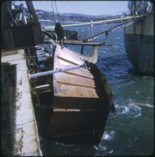 Part of the TEV Wahine wreck being lifted from the sea