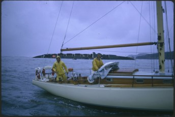 """Unknown vessel and crew during the """"Wahine"""" storm"""