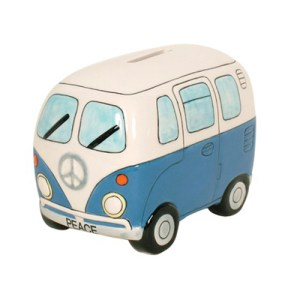 Blue Kombi Van Money Box