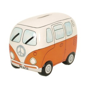 Orange Kombi Van Money Box