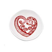 Jo Luping Handmade Porcelain Bowl - Red Aroha On White