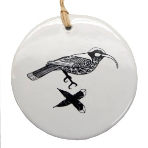 Black Huia on White Ceramic hanging Tile