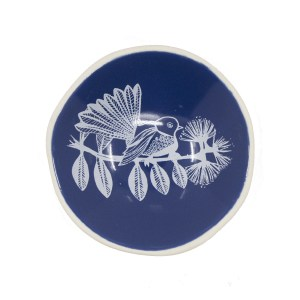 White Fantail on Blue bowl