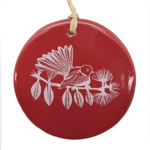 White fantail on Red Ceramic Hanging Tile