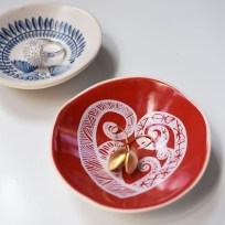 Handmade Porcelain Bowl - White Aroha On Red