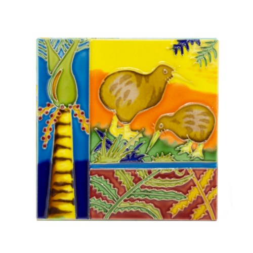 Kiwi & Fern Large Ceramic Tile