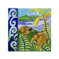 Two Kiwis Large Ceramic Tile
