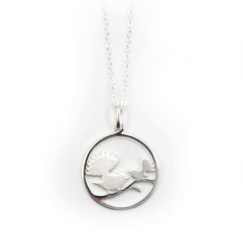 Sterling Silver Fantail Circle Necklace, Jewellery