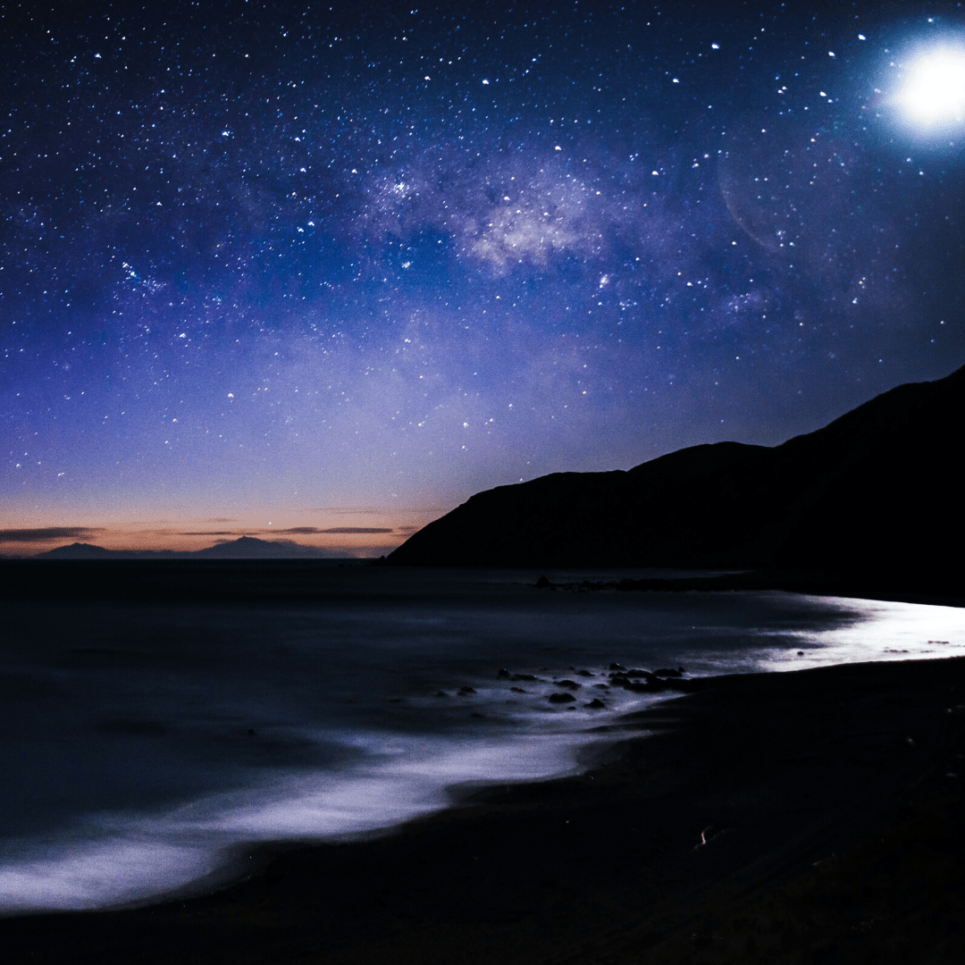Night sky at Red Rocks on Wellington's south coast